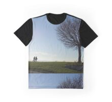 Tree, couple walking by Crescent Beach in White Rock, BC Graphic T-Shirt
