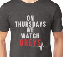 On Thursdays We Watch Greys - White Text Unisex T-Shirt