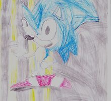 Pencil drawing of my favourite Games Charecter Sonic The Hedge Hog by Kaelem Emblow