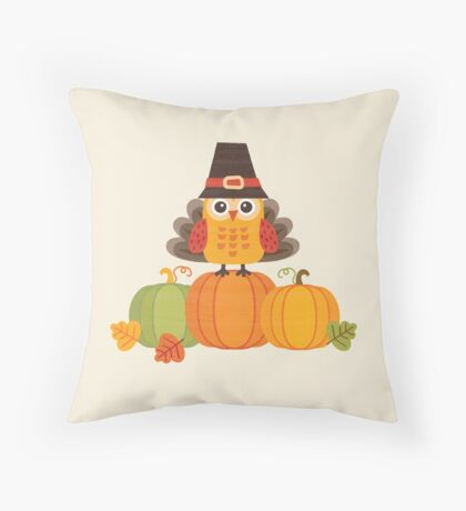 Thanksgiving Owl in Turkey Costume on Pumpkins Throw Pillow
