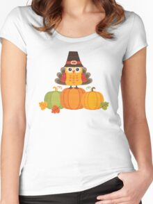 Thanksgiving Owl in Turkey Costume on Pumpkins Women's Fitted Scoop T-Shirt