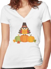 Thanksgiving Owl in Turkey Costume on Pumpkins Women's Fitted V-Neck T-Shirt