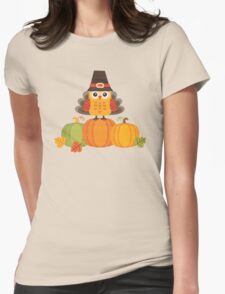 Thanksgiving Owl in Turkey Costume on Pumpkins Womens Fitted T-Shirt