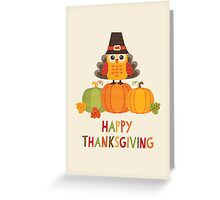 Thanksgiving Owl in Turkey Costume on Pumpkins Greeting Card