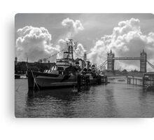 HMS Belfast and Tower Bridge Metal Print