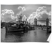 HMS Belfast and Tower Bridge Poster