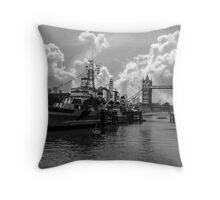 HMS Belfast and Tower Bridge Throw Pillow