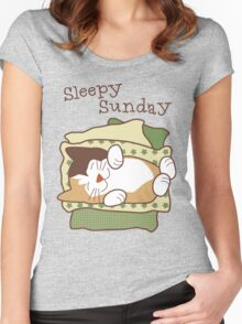 Sleepy Sunday Days of Week Cat Women's Fitted Scoop T-Shirt