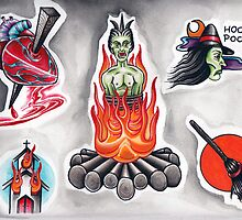 Halloween Tattoo Flash by Adam Gillespie