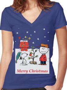 Charlie Christmas Tree Women's Fitted V-Neck T-Shirt