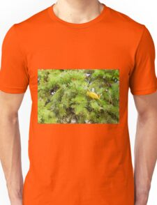 Soft image of a green fir branches with needles closeup Unisex T-Shirt