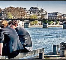 Lovers along the Seine, Paris. by Forrest Harrison Gerke