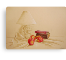 Still life with lamp and apples Canvas Print