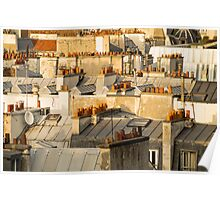 rooftops of Paris building in France  Poster