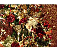 Beautiful Red, White and Green Christmas Tree Photographic Print
