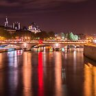 Night over the Seine in Paris, France  by hpostant