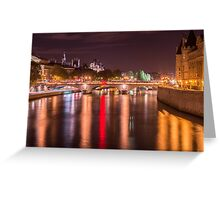 Night over the Seine in Paris, France  Greeting Card
