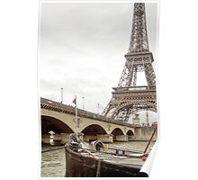 Paris, the Seine river and a bridge in France  Poster