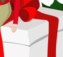 elf sits on the gift Sticker