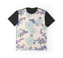 Flowers, Petals, Leaves, Blossoms - Blue Purple Graphic T-Shirt
