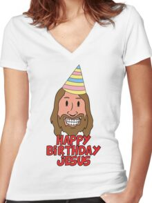 Happy Birthday Jesus Women's Fitted V-Neck T-Shirt