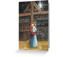 The Hug in the Stable Greeting Card