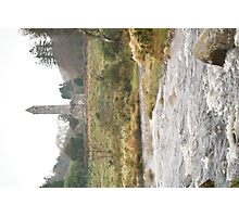 Glendalough Round Tower with river Photographic Print