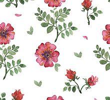 flowers watercolor of floral rose seamless pattern by OlgaBerlet