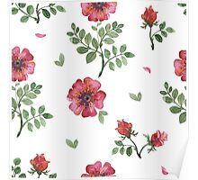 flowers watercolor of floral rose seamless pattern Poster