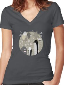 Japanese Fairy Tale / Piece 1 Women's Fitted V-Neck T-Shirt