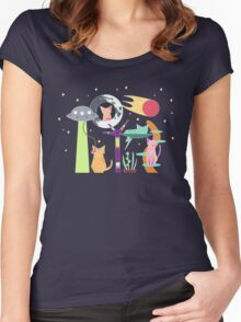 Alien Cat Tower Women's Fitted Scoop T-Shirt