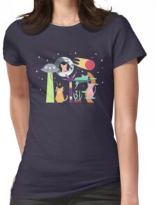 Alien Cat Tower Womens Fitted T-Shirt