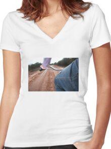 Girl Rides Bike Women's Fitted V-Neck T-Shirt