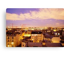 Paris rooftops at night, France  Canvas Print