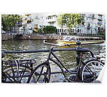 Bike and boat in Amsterdam  Poster
