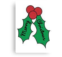 Merry Christmas Holly Canvas Print