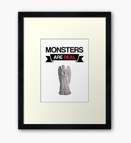 monsters are real (weeping angel version 1) Framed Print