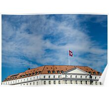 Switzerland : flag and house on a blue sky  Poster