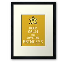 Keep Calm And Save The Princess V.2 Framed Print