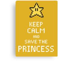 Keep Calm And Save The Princess V.2 Canvas Print