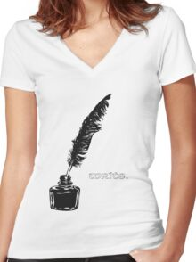 Write. Women's Fitted V-Neck T-Shirt
