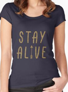 Stay Alive - Hunger Games (Gold) Women's Fitted Scoop T-Shirt