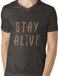 Stay Alive - Hunger Games (Gold) Mens V-Neck T-Shirt