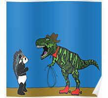 Dressing up with Panda & T-Rex Poster
