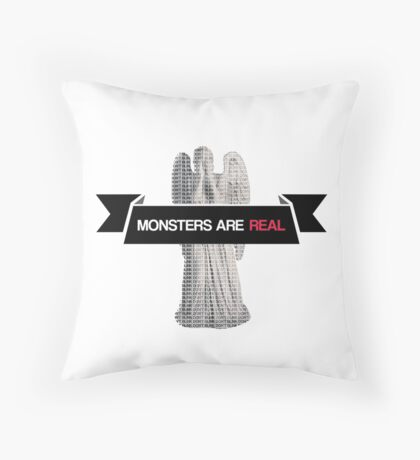 monsters are real (weeping angel version 2) Throw Pillow