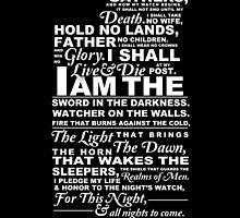 Night's Watch Oath--BLACK by mcgani