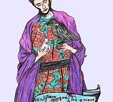 frida with birds. by Jessica Garcia