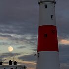 Portland Bill Lighthouse and Moon by Lorne Cooper