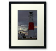Portland Bill Lighthouse and Moon Framed Print