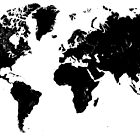 Black & White World Map by Mike Bronson